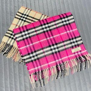 Authentic Burberry Hot Pink Cashmere Nova Check Scarf